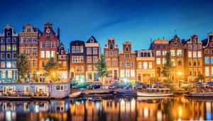 Lovely City Canal Scene In Amsterdam Hdr HD Desktop Background