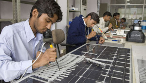 Solar panels being assembled in a factory near Jaipur, Rajasthan.